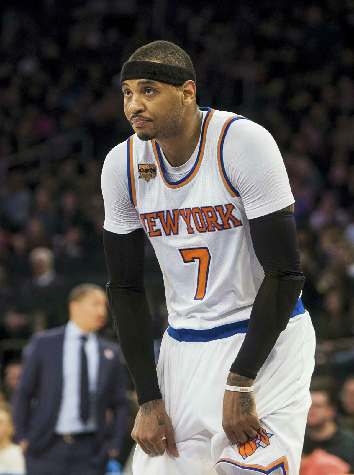 New York Knicks' Carmelo Anthony (7) reacts during the first half of an NBA basketball game against Cleveland Cavaliers on Feb. 4, 2017 in New York.