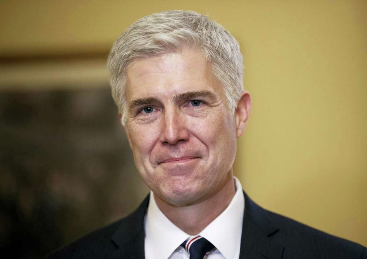 Supreme Court Justice nominee, Neil Gorsuch is seen on Capitol Hill in Washington.
