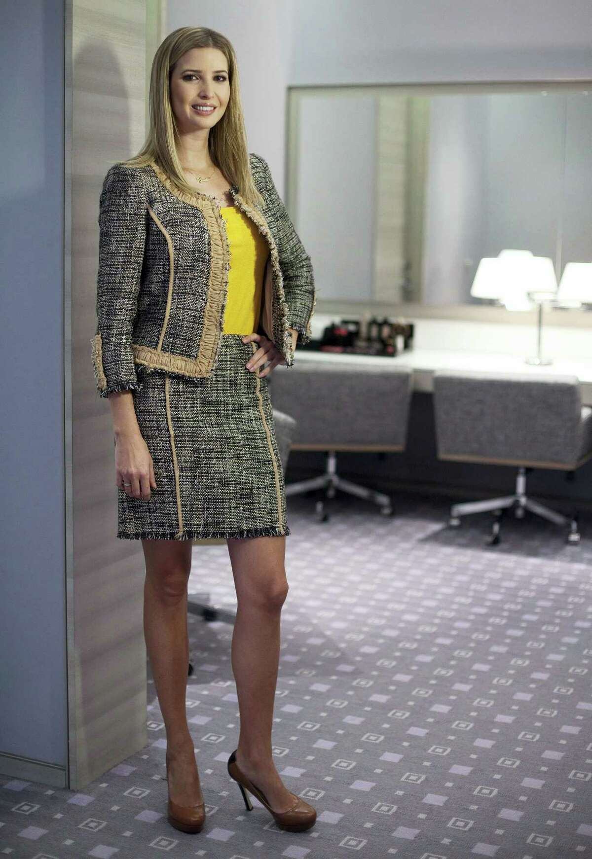 Ivanka Trump models an outfit following an interview to promote her clothing line in Toronto in 2015.