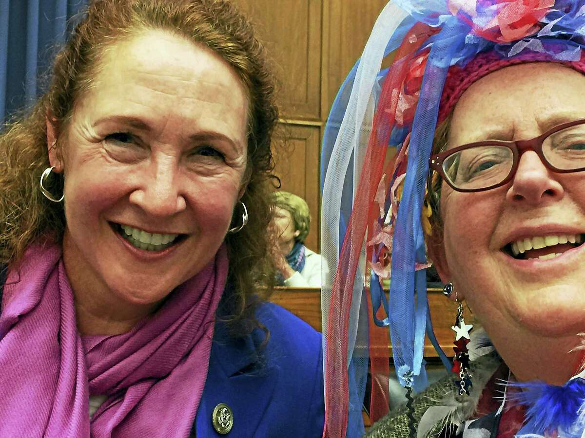 Contributed photos Litchifeld resident and Torrington attorney Audrey Blondin, right, is joined by Congressman Elizabeth Esty, D-5th, at the Million Women March in Washington, DC.