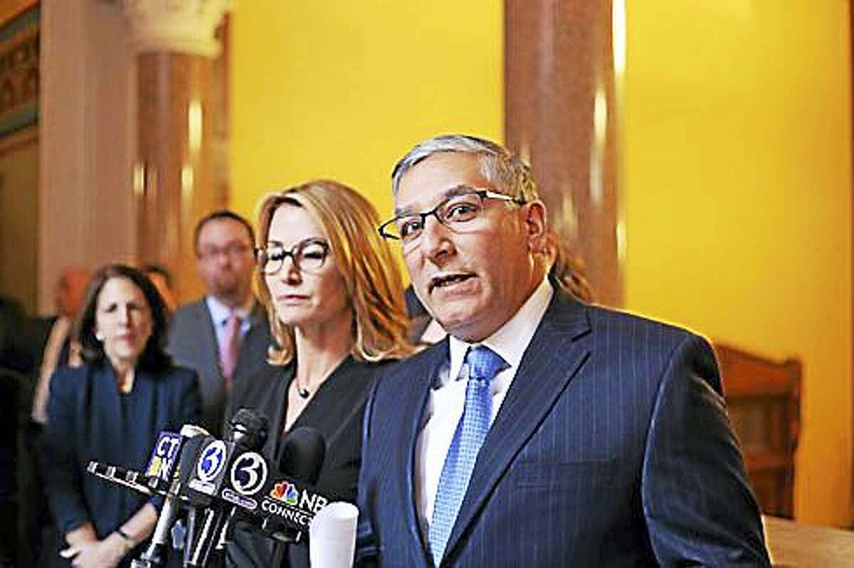 Senate Republican President Len Fasano and House Minority Leader Themis Klarides