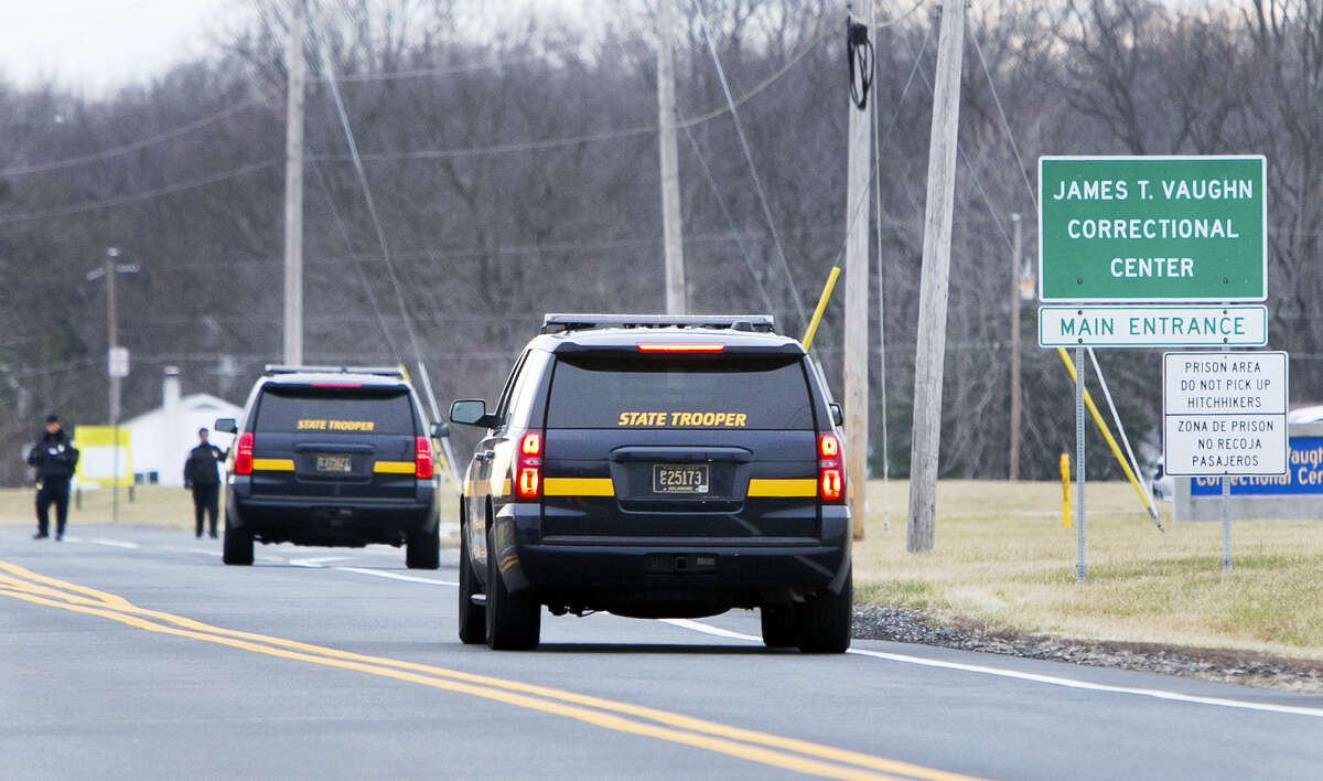 More State Troopers arrive on scene as all Delaware prisons went on lockdown late Wednesday due to a hostage situation unfolding on Wednesday at the James T. Vaughn Correctional Center in Smyrna, Del.
