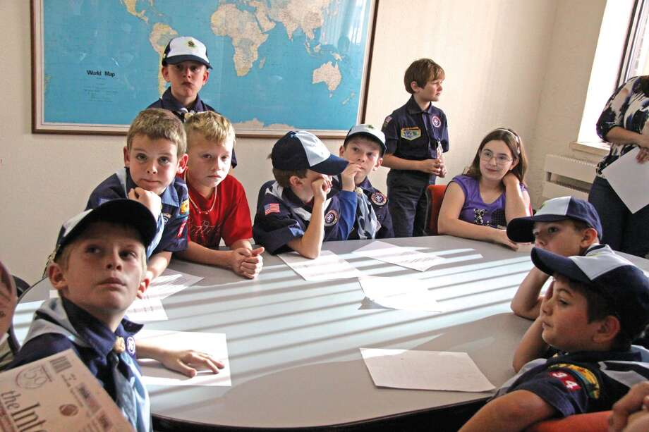 A pack of area Cub Scouts prepares for a tour of the Edwardsville Intelligencer office. Photo: For The Intelligencer