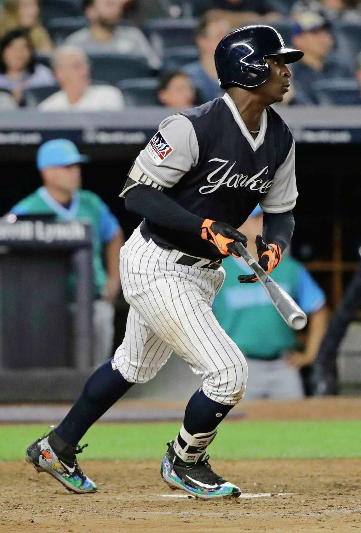 New York Yankees' Didi Gregorius watches his RBI double during the eighth inning of a baseball game against the Seattle Mariners on Friday, Aug. 25, 2017, in New York. (AP Photo/Frank Franklin II) ORG XMIT: NYY112