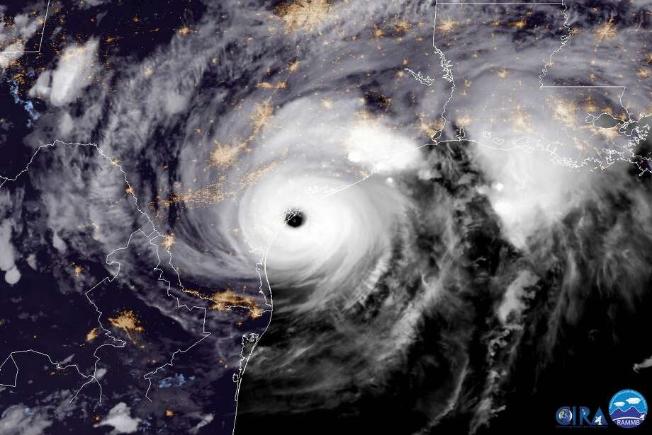 UNITED STATES - AUGUST 25: In this NOAA handout image, NOAA's GOES East satellite capture of Hurricane Harvey shows the storm making landfall shortly after 8:00pm CDT on August 25, 2017 on the mid-Texas coast. Now at category 4 strength, Harvey's maximum sustained winds had increased to 130 miles per hour. (Photo by NASA/NOAA GOES Project via Getty Images) Photo: Handout / 2017 NASA/NOAA GOES Project