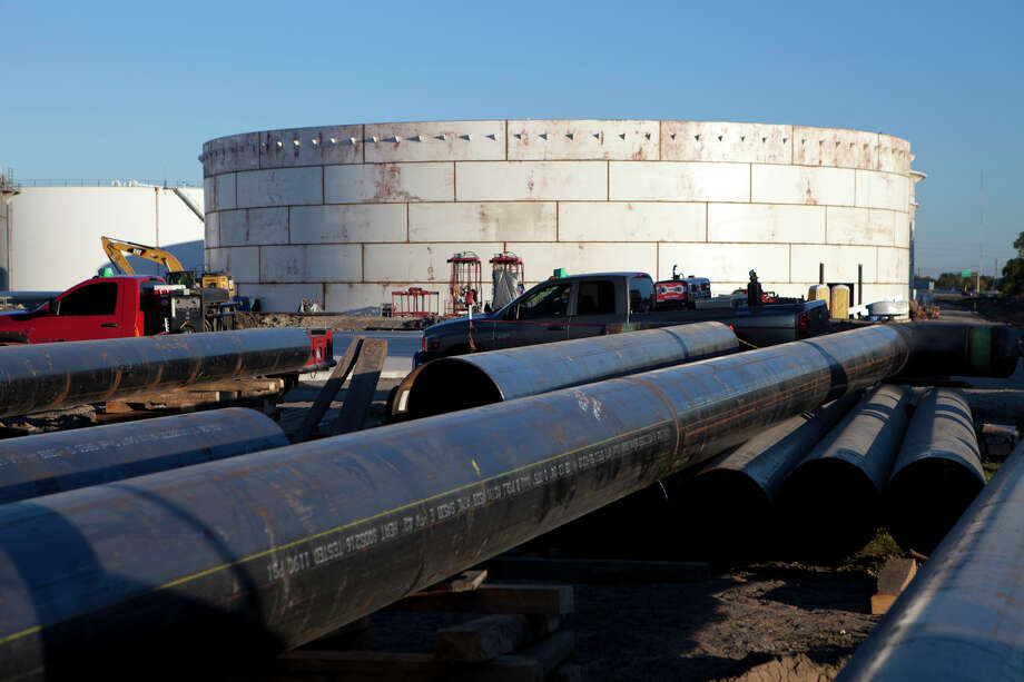 The massive BridgeTex Pipeline was completed in 2014 and terminates in east Houston. The pipeline - owned by Magellan Midstream and Plains All American Pipeline - carries Permian Basin crude oil from Colorado City to Houston. The pipeline was expanded to 400,000 barrels a day of capacity this year and the owners are currently weighing an additional expansion to 440,000 barrels daily. Photo: Magellan Midstream Partners