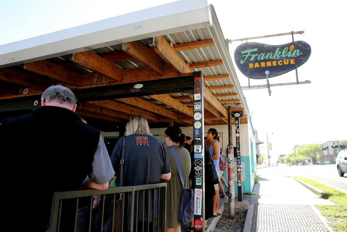 The daily line outside Franklin Barbecue in Austin. Thrillist ranked Texas as America's best food state, citing foods like the barbecue at Franklin.