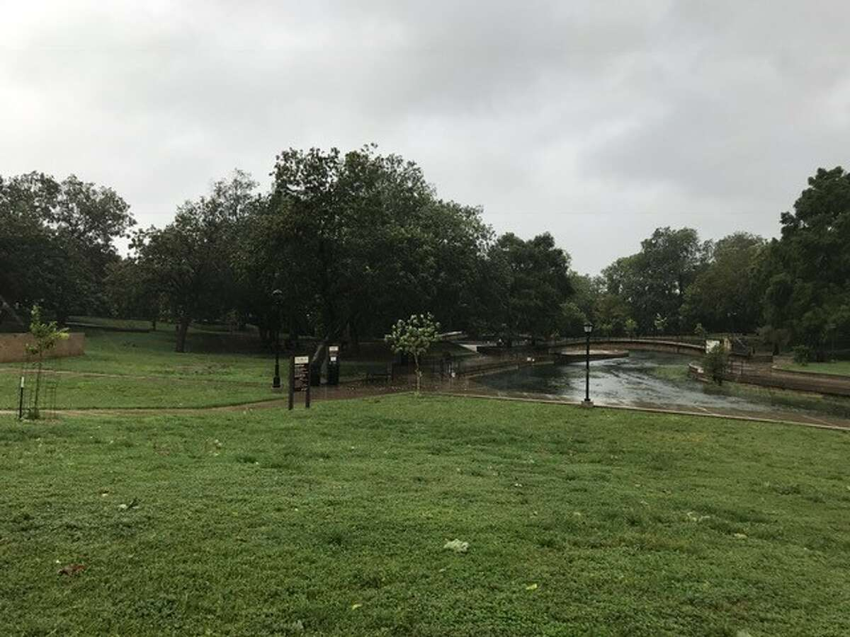 Rain falls on Sewell Park at Texas State University in San Marcos on Saturday. San Marcos and Hays County activated emergency operations in response to Hurricane Harvey.