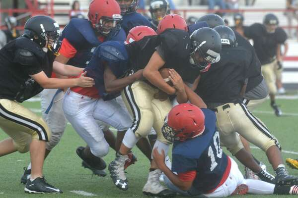 Plainview junior varsity football vs. Lubbock High scrimmage photos.