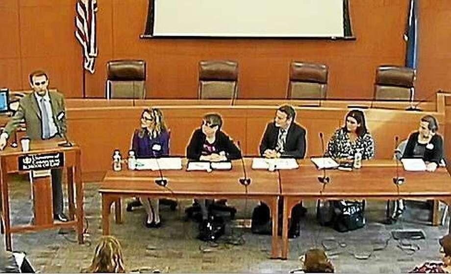 From left: Walter Gilliam, Ph.D; Kathryn Scheinberg Meyer; Andrea Spencer, Ph.D; John Frassinelli; Patricia Sullivan-Kowalski; and Elizabeth Bicio Photo: SCREEN GRAB Courtesy Of CTNJ