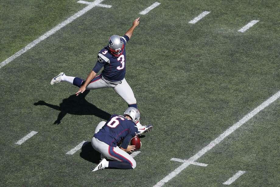 Patriots kicker Stephen Gostkowski (3) kicks a field goal Sunday against the Jacksonville Jaguars. Photo: Stew Milne — The Associated Press  / FR56276 AP