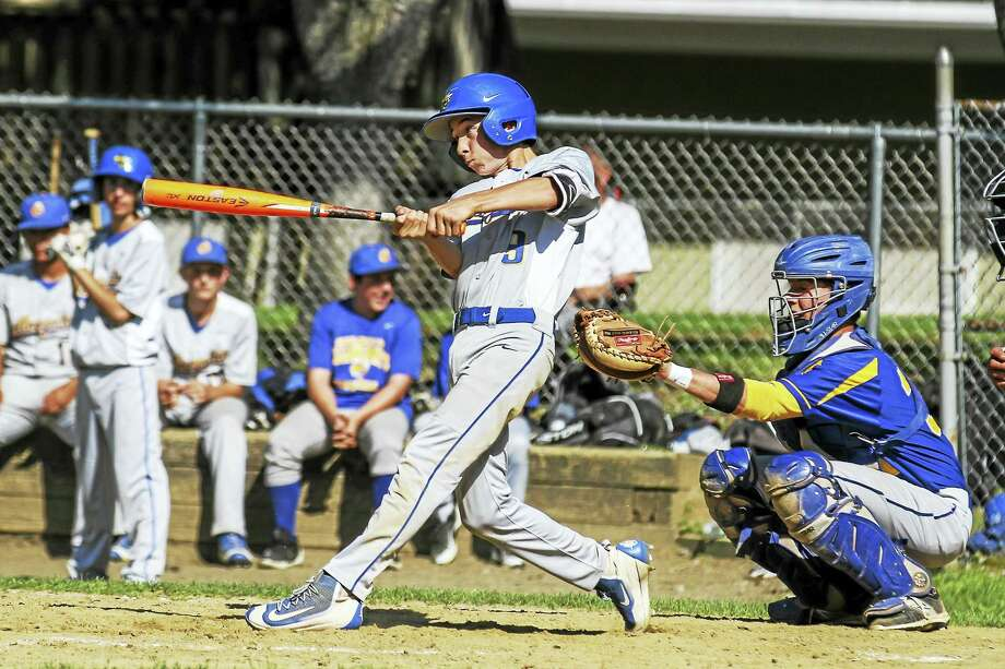 Gilbert freshman Ryley Weiss came through with the final RBI single in a three-run third inning for the Yellowjackets in a Class S first-round win over Housatonic Tuesday afternoon. Photo: Photo By Marianne Killackey  / 2015