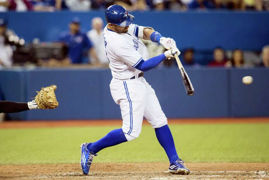 Toronto's Kevin Pillar hits an RBI single against the New York Yankees during the seventh  inning of a baseball game Tuesday in Toronto. Toronto won 4-1. Photo: MARK BLINCH — THE CANADIAN PRESS VIA THE ASSOCIATED PRESS  / The Candian Press