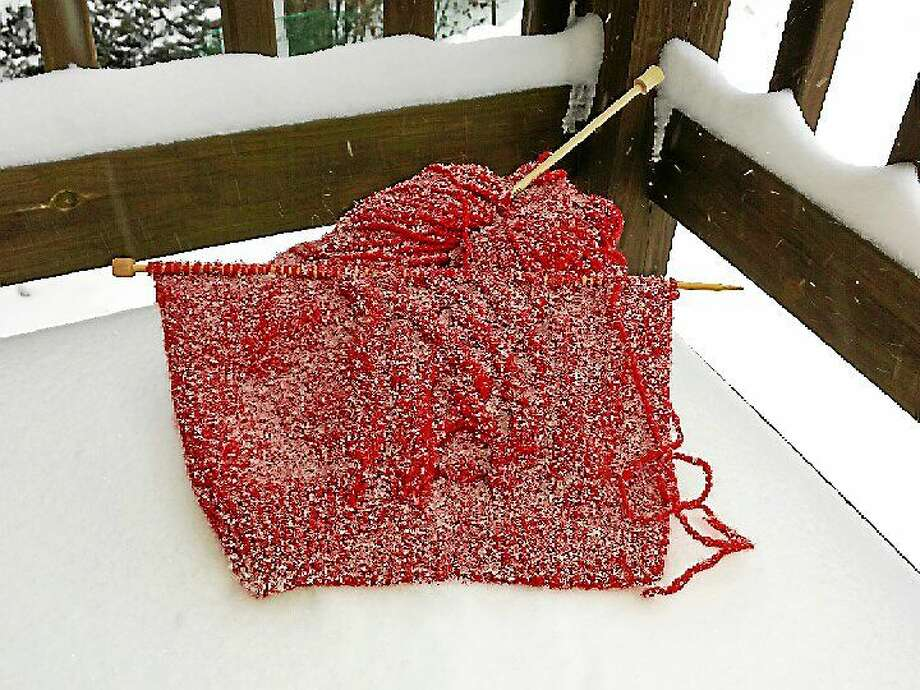 Photo courtesy of Ginger Balch Knitters, don't get caught in a snowstorm without everything you need to keep busy! Photo: Journal Register Co.