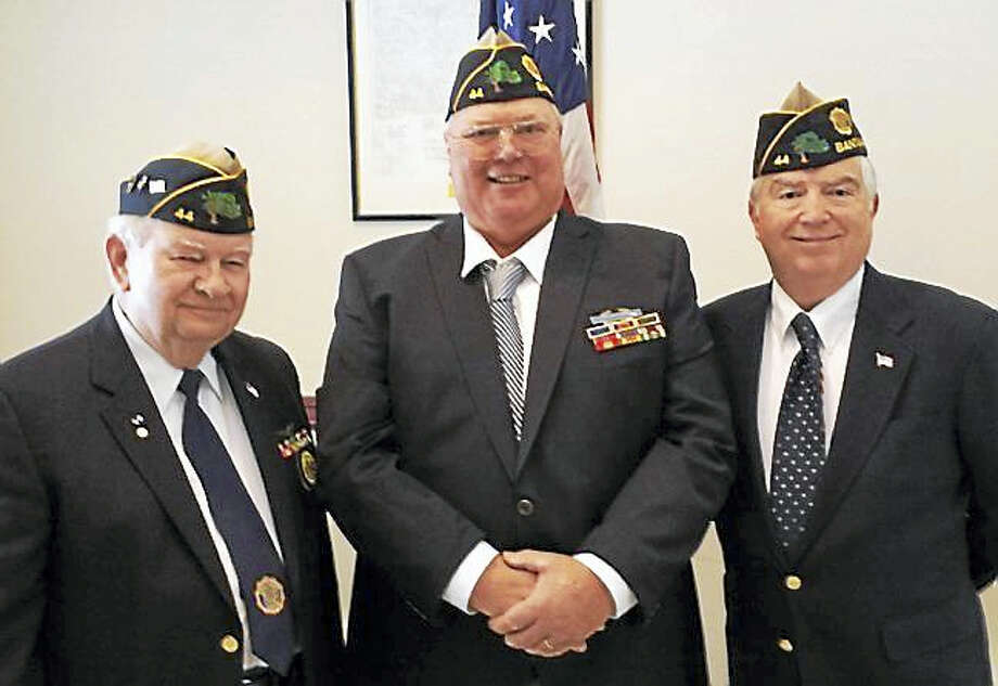 Contributed photo Members of Tyler Seward Kubish American Legion Post 44 will hold their Veteran of the Month ceremon at the All Wars Memorial on Route 202 in Bantam on Saturday, Oct. 1. From left are John Lilley, Henry Osowiecki and Kevin Creed. Photo: Journal Register Co.