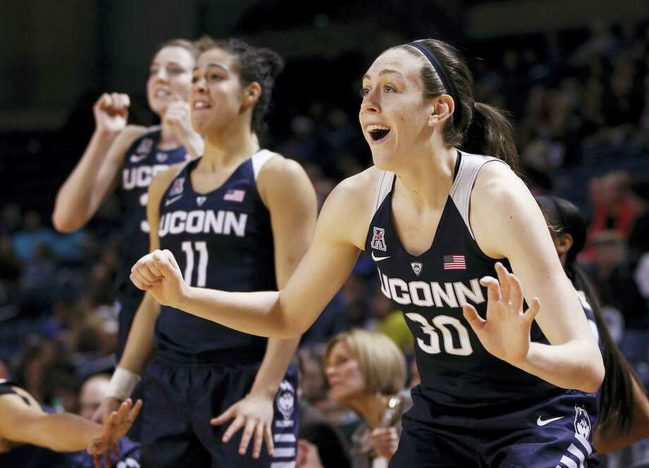 Connecticut's Breanna Stewart celebrates her team's play during the second half of an NCAA college basketball game against Tulsa in Tulsa, Okla., Wednesday, Jan. 27, 2016. Uconn won, 94-31. (AP Photo/Dave Crenshaw) Photo: AP / FR41373 AP