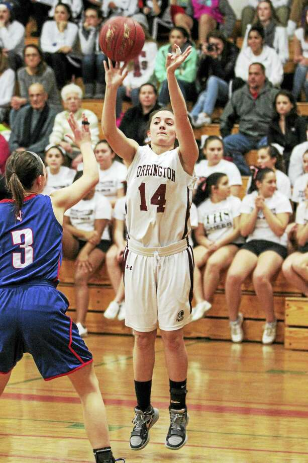 Torrington junior guard Sidnee Kovall had her best game of the season, leading the Red Raiders' effort to delay St. Paul Coach Joe Mone's 300th win. Photo: Marianne Killackey — The Register Citizen  / 2015
