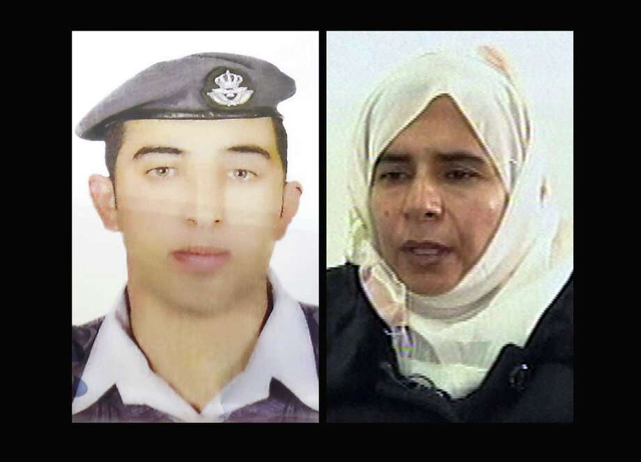 COMBO - This combination of two photographs shows the detail of a poster of an undated photograph of Jordanian pilot Lt. Muath al-Kaseasbeh, left, used during a demonstration calling for his release from the Islamic State group and a still image from video, right, of Sajida al-Rishawi, an Iraqi woman sentenced to death in Jordan for her involvement in a 2005 terrorist attack on a hotel that killed 60 people. Photo: AP Photo  / AP