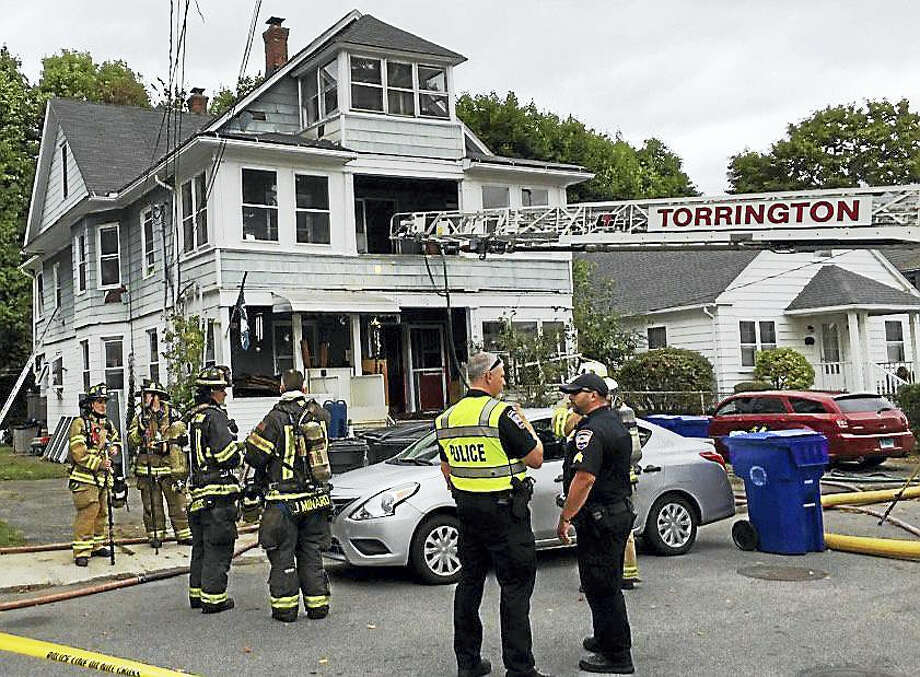 Torrington fire crews battled a two-alarm house fire at 170 Park Avenue early Wednesday afternoon. Photo: Ben Lambert — The Register Citizen