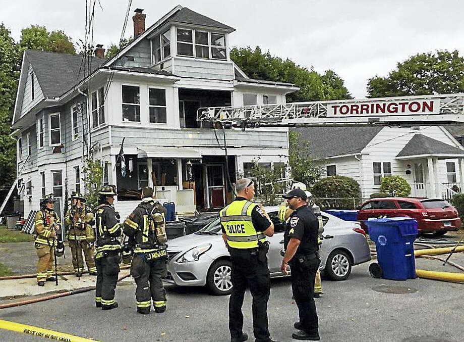 Torrington fire crews battled a two-alarm house fire at 170 Park Avenue early Wednesday afternoon. Photo: Ben Lambert — The Register Citizen