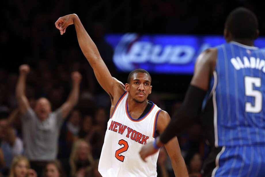 Knicks guard Langston Galloway celebrates after scoring against the Orlando Magic during Friday's 113-106 win in New York. Photo: Jason DeCrow — The Associated Press File Photo  / FR103966 AP
