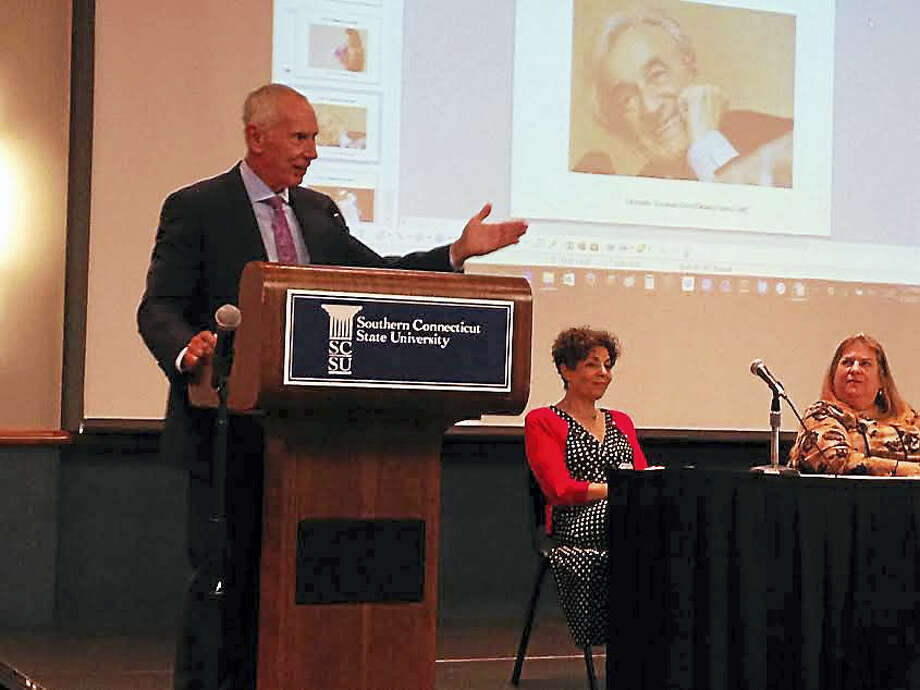 """Connecticut State Colleges and Universities president Mark Ojakian speaks at a Southern Connecticut State University """"Forum on Judaism."""" Photo: Brian Zahn - The New Haven Register"""