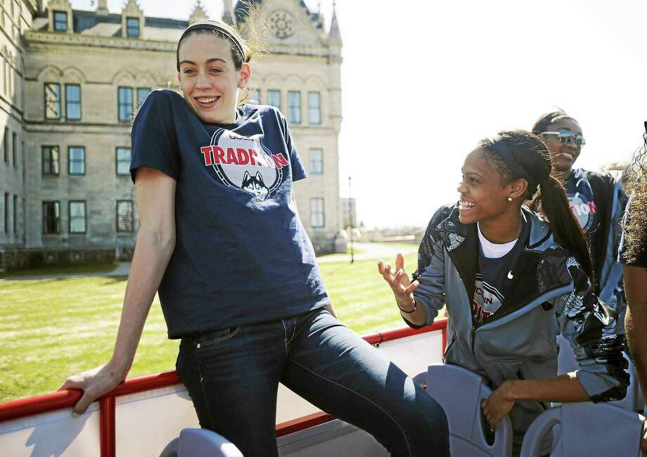 UConn's Breanna Stewart, left, and Moriah Jefferson will be watching the WNBA draft lottery Thursday night. Photo: Jessica Hill — The Associated Press File Photo  / FR125654 AP