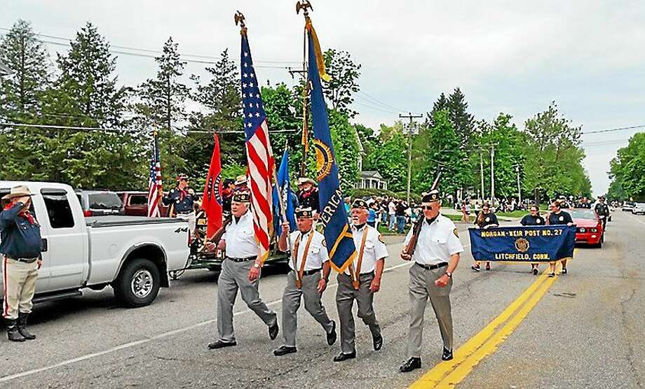 Noel F. Ambery--for The Register Citizen Local veterans marched down Route 63 at the Litchfield Memorial Day Parade on Monday morning. The parade also featured appearances by school bands, the Litchfield 4-H Fair Association and local emergency vehicles. Photo: Journal Register Co.