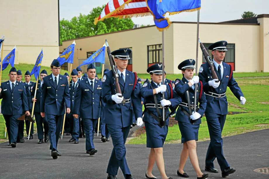 Torrington High School's JROTC conducted its Change of Command Ceremony on Tuesday. Photo: Amanda Webster — The Register Citizen