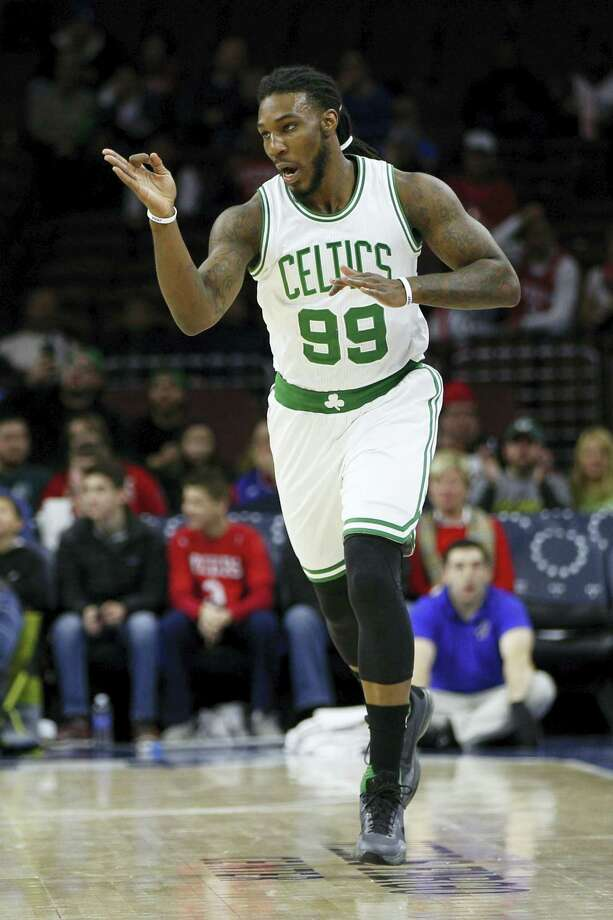 Boston Celtics' Jae Crowder reacts to his 3-pointer during the first half against the Philadelphia 76ers, Sunday in Philadelphia. Photo: The Associated Press  / FR170982 AP