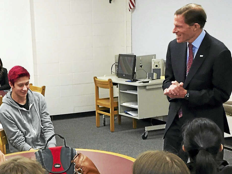 BEN LAMBERT — REGISTER CITIZEN U.S. Sen. Richard Blumenthal speaks with Torrington High School students Monday to discuss the cost of college and their experiences in the application process. Photo: Journal Register Co.