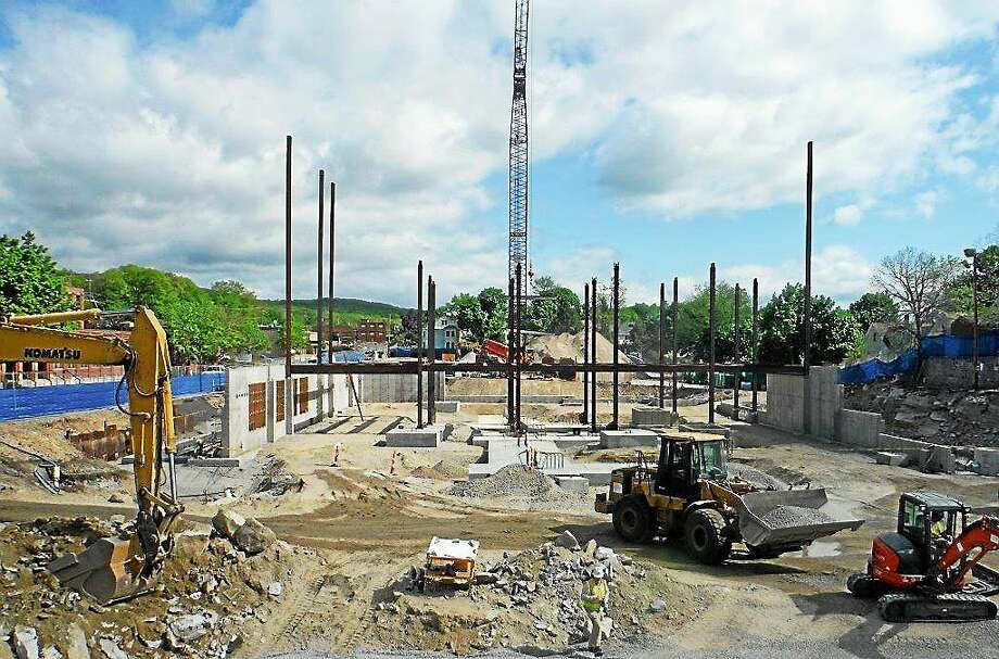 Contributed by KBE Steel beams for the new courthouse are seen from inside the construction site on Field Street in Torrington. Photo: Journal Register Co.