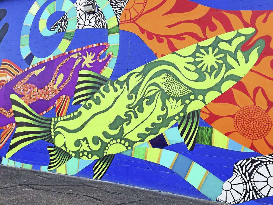 """Ben Lambert - The Register Citizen The """"Fish Tales"""" mural, created by artist Danielle Mailer, will be officially unveiled to the public next Friday, Oct. 7. Photo: Journal Register Co."""