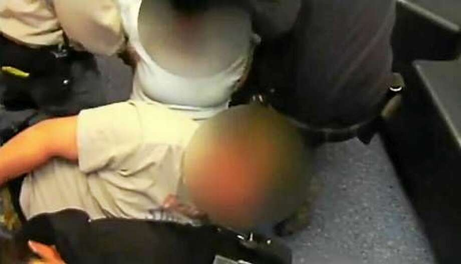 DCF restraint Photo: Screengrab Released By Office Of Child Advocate
