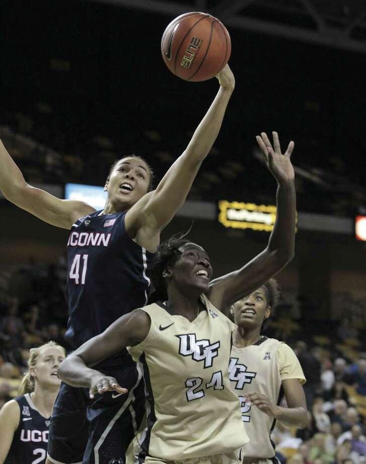 UConn center Kiah Stokes has 34 blocks in her last five games. Photo: Reinhold Matay — The Associated Press  / FR156687 AP
