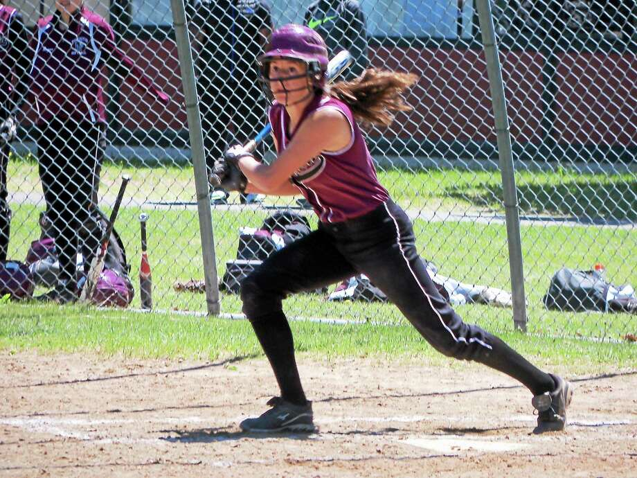 Torrington center fielder Brittany Young used her outfield speed to score two runs Saturday in the Raiders' first-round NVL Tournament win over Naugatuck. Photo: PETER WALLACE — REGISTER CITIZEN