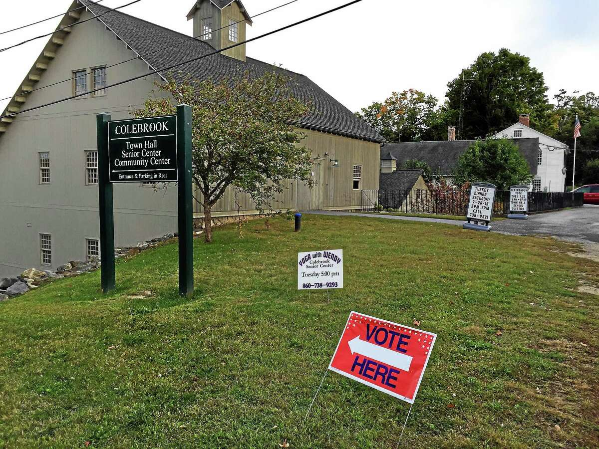 The Town Hall in Colebrook, on the day of a referendum regarding a proposed plan to create a regional school with the town of Norfolk.