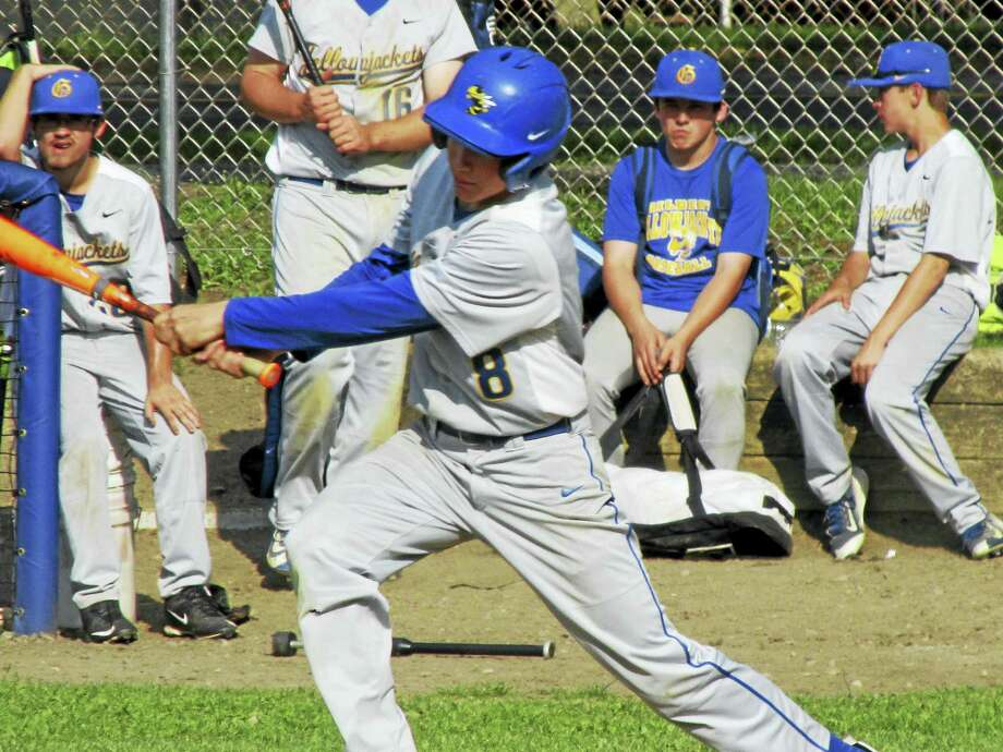 Gilbert's Cam Goulet had a two-run triple, then scored the winning run in a Yellowjacket win over Thomaston Wednesday afternoon at Winsted's Walker Field. Photo: Photo By Peter Wallace