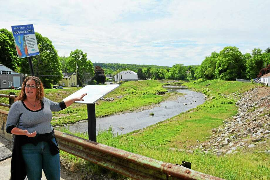 The banks of the Naugatuck River in Torrington, where city officials hope to build a trail using grant funds. Photo: Ben Lambert — The Register Citizen