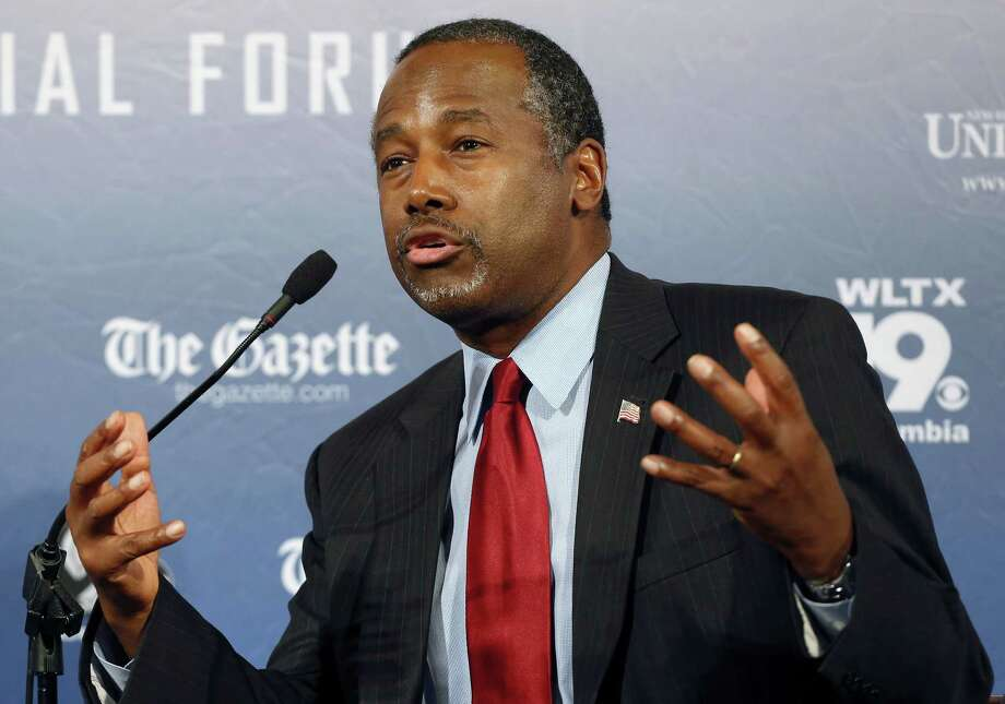 In this Aug. 3, 2015 photo, Republican presidential candidate and retired neurosurgeon Ben Carson speaks during a forum in Manchester, N.H. Photo: AP Photo/Jim Cole, File  / AP