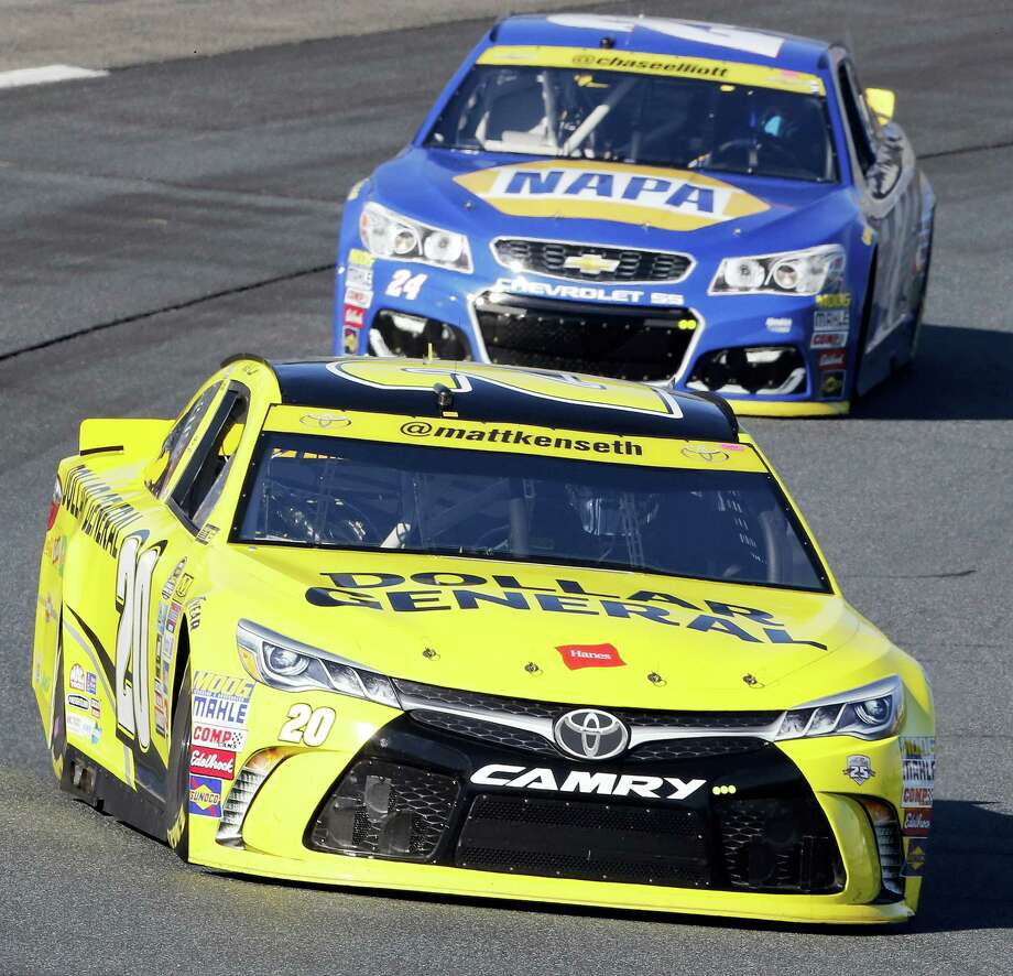 Matt Kenseth leads Chase Elliott during practice on Saturday for Sunday's race at New Hampshire Motor Speedway. Photo: Jim Cole — The Associated Press  / Copyright 2016 The Associated Press. All rights reserved.
