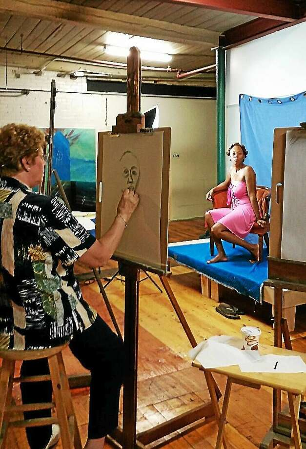 N.F. Ambery photo Attendees sketched a model during a short workshop held by Winsted artist Debbie Hennes on Sunday afternoon during an open house at the Whiting Mills building. Photo: Journal Register Co.