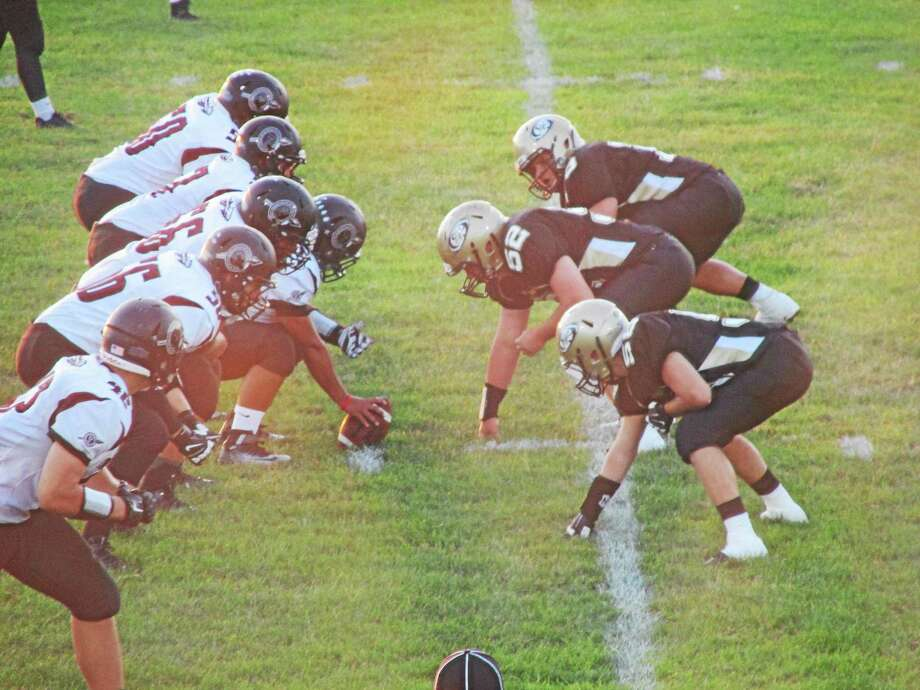 Peter Wallace - Register Citizen Torringnton's offensive line played strong against Woodland Friday evening. Photo: Journal Register Co.