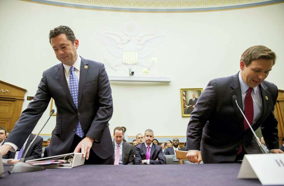 U.S. Reps. Jason Chaffetz, R-Utah, left, and Ron DeSantis, R-Fla., arrive to testify at a House Judiciary Committee hearing, Tuesday, May 24, 2016, in Washington, on allegations of misconduct against IRS Commissioner John Koskinen. Photo: AP Photo/Andrew Harnik   / Copyright 2016 The Associated Press. All rights reserved. This material may not be published, broadcast, rewritten or redistribu