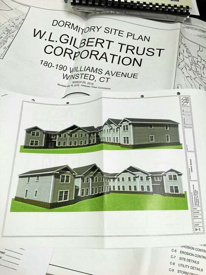 A drawing of the proposed dormitory at The Gilbert School, the plan for which was approved Monday evening by the town Planning and Zoning Commission. Photo: BEN LAMBERT — REGISTER CITIZEN
