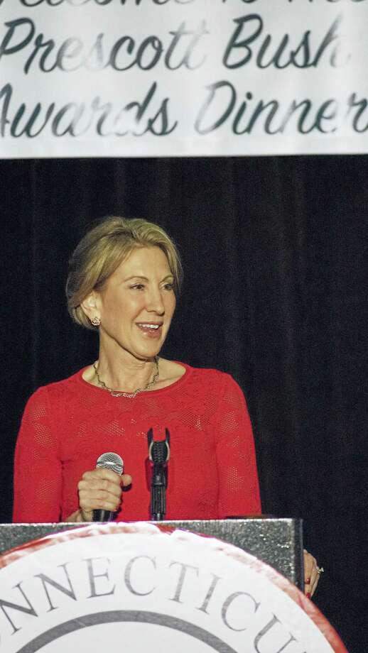 Carly Fiorina gives the keynote address at the Prescott Bush Awards Dinner Tuesday. Photo: DOUGLAS HEALEY — CTNEWSJUNKIE  / Douglas Healey
