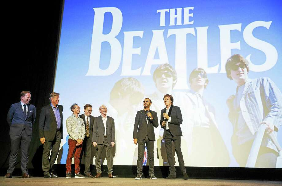 """Filmmakers join Ringo Starr and Paul McCartney for the premiere of """"The Beatles: Eight Days a Week — The Touring Years"""" in London. Photo: James Gillham/Sting Media/Courtesy Of Apple Corps Ltd.  / JamesGillham/StingMedia.co.uk"""