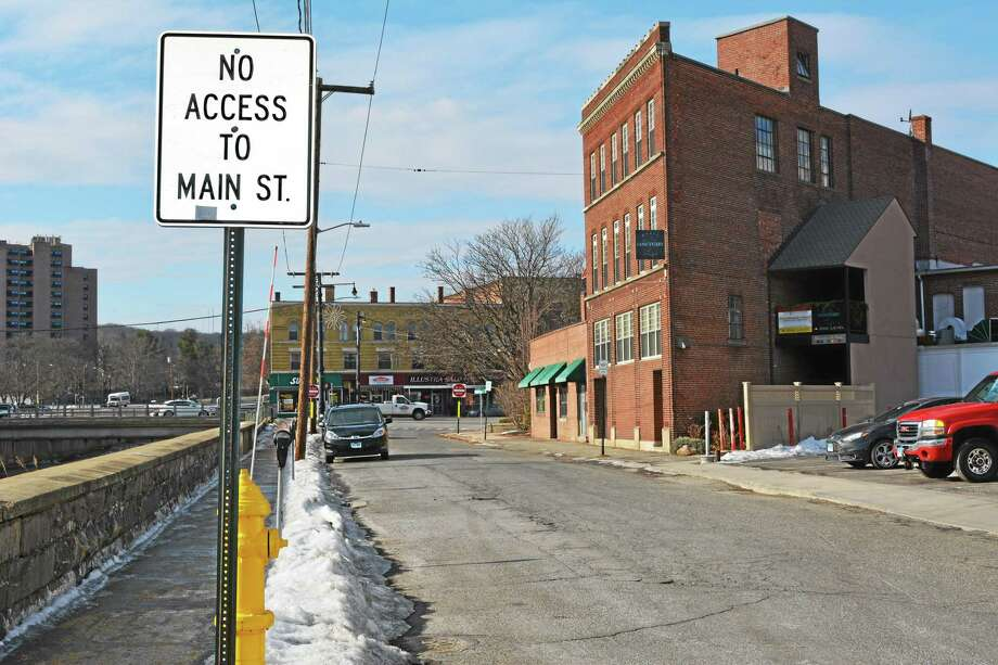 Parts of Franklin Street in the downtown area are proposed to become walking trails along the Naugatuck River. Photo: Amanda Webster — Register Citizen