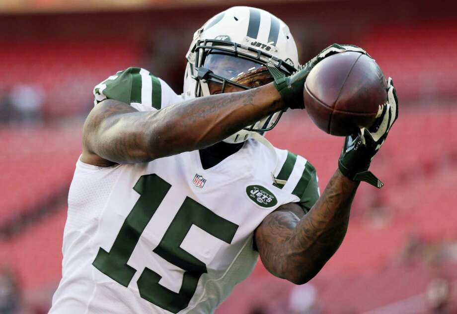 New York Jets wide receiver Brandon Marshall will likely be a game-time decision for the Jets on Sunday. Photo: The Associated Press File Photo  / FR170908 AP