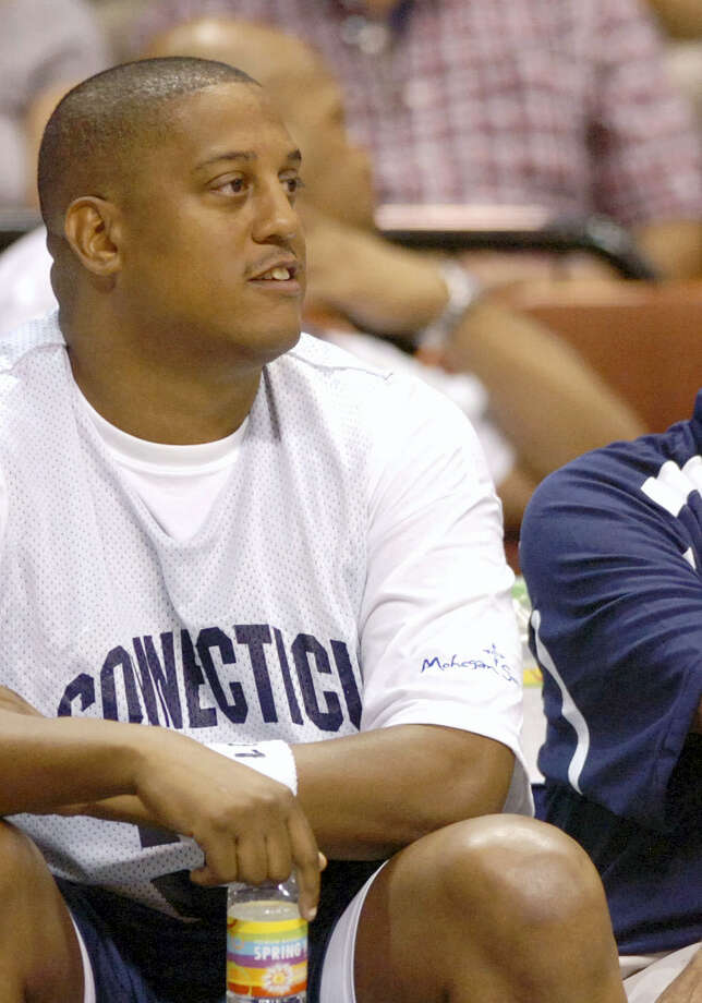 FILE - This Aug. 8, 2008, file photo shows former NBA and University of Connecticut player Tate George during the Jim Calhoun Celebrity Classic basketball game at the Mohegan Sun Arena in Uncasville. Photo: AP PHOTO/FRED BECKHAM, FILE / FR092518 AP